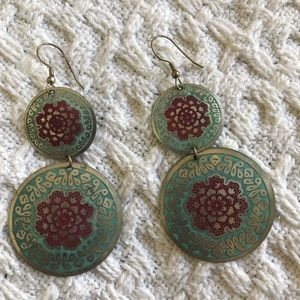 Jewelry - Dangly blue and pink flowered metal earrings